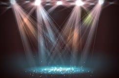 Światła reflektorów na scenie z dymu światłem Obrazy Royalty Free