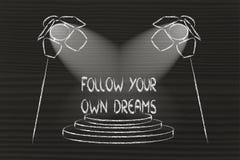 Światła reflektorów na sukcesie, podążają twój swój sen Zdjęcia Stock