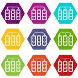 Światła ruchu ikony koloru ustalony sześciobok royalty ilustracja