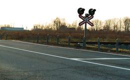 Światła ruchu, linii kolejowej skrzyżowanie Obraz Royalty Free