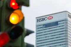 Światła ruchu obok HSBC banka Fotografia Stock