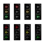 Światła ruchu ustawiający z skręt w lewo strzała Zdjęcia Stock