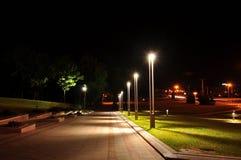 Światła w noc parku Zdjęcia Royalty Free