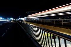 Światło ślada w Kopenhaga na autostradzie obrazy stock