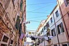 Światło dzienne szeroki widok od dna odzieżowa linia pralniana osuszka fotografia stock