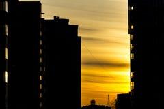 Światło położenia słońce w mieście Zdjęcie Stock