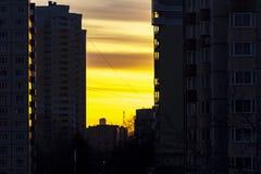 Światło położenia słońce w mieście Zdjęcia Stock