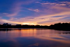 Światło po zmierzchu na jeziorze Fotografia Stock