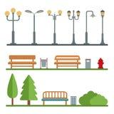 Światło poczta i plenerowi elementy dla budowy krajobrazy Zdjęcie Royalty Free