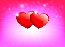 Światło - różowy tło z sylwetkami czerwoni serca i promienie światło Zdjęcie Royalty Free