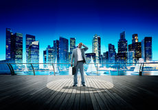 Światło reflektorów biznesmena kontemplaci pejzażu miejskiego Znużony pojęcie obraz royalty free