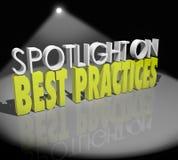 Światło reflektorów na najlepsza praktyka słów Wielkich pojęć Pomyślnym pomysle ilustracja wektor