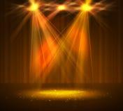 Światło reflektorów na scenie z dymem i światłem Obraz Royalty Free