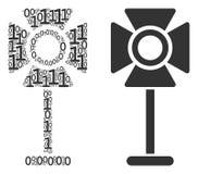 Światło reflektorów stojaka skład Binarne cyfry ilustracja wektor
