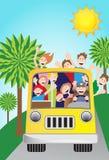 światło słoneczne autobusowi sceniczni podróżnicy royalty ilustracja