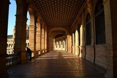 Światło słoneczne na budynkach na placu De españa w Seville, Hiszpania fotografia stock