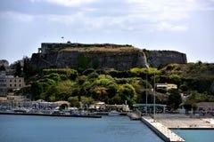 Światło słoneczne na theOld Weneckim fortecy Corfu Zdjęcie Stock