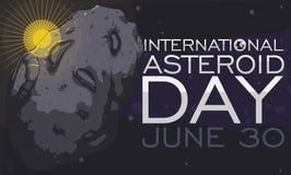 Światło słoneczne Odbija na asteroidzie z znakiem Świętować swój dzień, Wektorowa ilustracja ilustracji