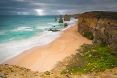 Światło słoneczne Po deszczu przy Australia ` s Dwanaście apostołami Zdjęcie Stock
