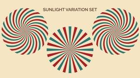 Światło słoneczne różnicy set Abstrakcjonistycznego światła słonecznego błękitnych i zielonych kolorów czerwony żół royalty ilustracja