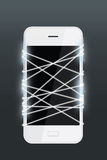 Światłowód emituje światło białe z smartphone Obraz Stock