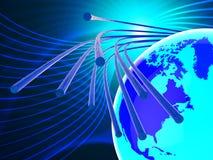Światłowód sieć Reprezentuje internet I Communicatio ilustracja wektor