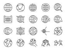 Świat ikony kreskowy set Zawierać ikony jako kula ziemska, mapa, globalny, międzynarodowy, mapa i bardziej ilustracja wektor