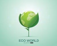 Świat na liścia eco światu zieleni świacie Zdjęcie Royalty Free