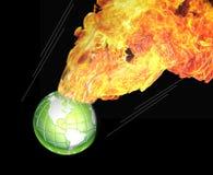 Świat pożerający płomieniami Obrazy Royalty Free