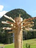 Świat podpisuje wewnątrz Dolomiti góry Zdjęcia Stock