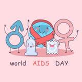 Świat pomaga dzień z kondomem royalty ilustracja