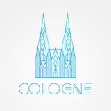 Świat sławna Kolońska katedra Wielcy punkty zwrotni Europe Liniowa wektorowa ikona dla Koln Niemcy ilustracji