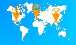 Świat waluta łańcuch Obrazy Stock