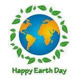 Świat ziemia i zieleń opuszcza na białym tle Fotografia Stock