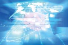 Świat związki technologia i komunikacja, biznesowa ręka Obrazy Stock