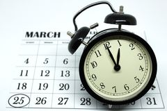 Świateł dziennych Savings Skaczą Przednia Niedziela przy 1:00 a M Fotografia Royalty Free
