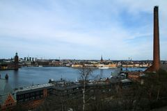 Światopogląd nad Sztokholm w Szwecja od Skinnarviksberget obraz stock