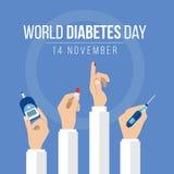 Światowa cukrzyca dnia świadomość z rękami trzyma metrowe miary dla krwionośnego cukieru pozioma ręki chwyta leka i krople krew n ilustracja wektor