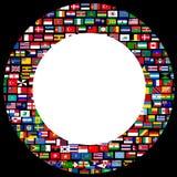 Światowa flaga okręgu rama nad czarnym tłem Zdjęcie Royalty Free