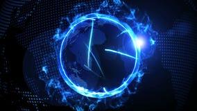 Światowa globalna sieć nad ziemią z rywalizującym firma ogieniem CG p?tli animacja ilustracji
