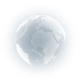 Światowa kula ziemska z cieniem na szarość Abstrakcjonistyczni globalnej sieci związki, geometrycznego projekta technologii pojęc Fotografia Stock