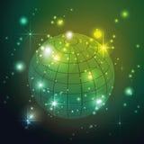 Światowa kula ziemska z gwiazdami w zielonym tle, Wektorowej przestrzeni tło Obraz Stock