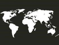 Światowa mapa biały kolor na ciemnym tle Zdjęcia Royalty Free
