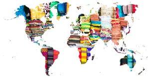 Światowa mapa ciie out w wielo- barwionych tkaninach Myanmar ilustracja wektor