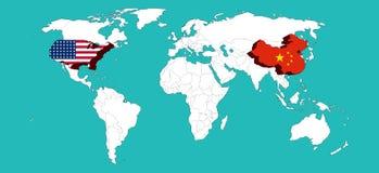Światowa mapa dekorował usa usa Chiny i flage Porcelanowym flage /Elements ten wizerunek meblujący NASA/3d renderingiem Fotografia Royalty Free