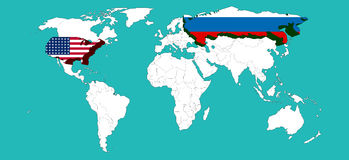Światowa mapa dekorował usa usa Rosja i flage Rosja flage /Elements ten wizerunek meblujący NASA/3d renderingiem Fotografia Stock