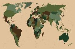 Światowa mapa - las, zielony kamuflażu wzór ilustracja wektor