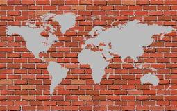Światowa mapa na ściana z cegieł Fotografia Stock