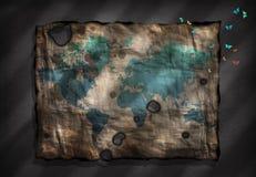 Światowa mapa na antycznym papierze z malutkimi ćma ilustracja wektor