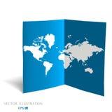 Światowa mapa na błękitnym papierze Zdjęcie Stock